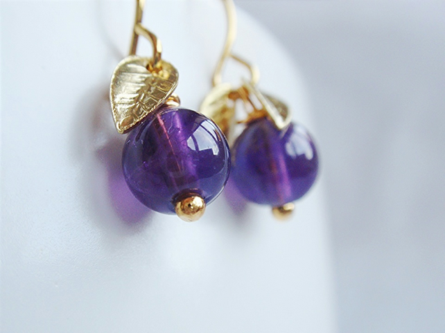 purple amethyst and gold leaf earrings vintage style