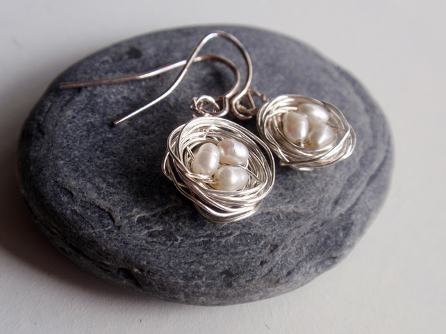 Sterling Silver Birds Nest Earrings with Freshwater Pearl Bird Eggs