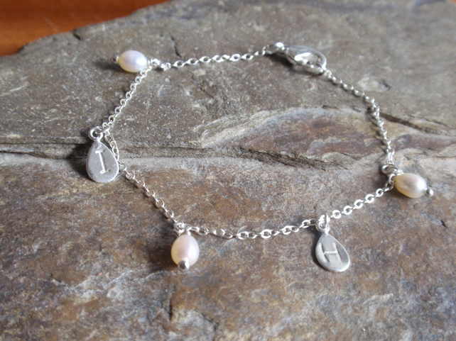 personalised bracelet with initials and freshwater pearls, sterling silver