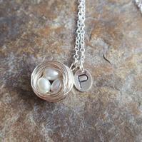 Personalised Necklace, Sterling Silver Birds Nest with Initial and Pearls