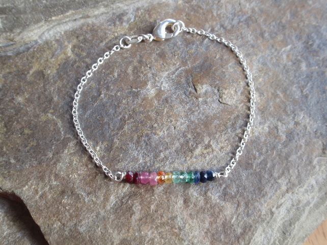 Gemstone bracelet with sapphire ruby and emerald with sterling silver, rainbow