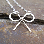 Sterling silver bow necklace