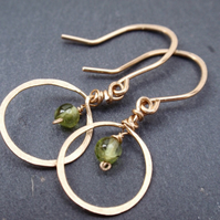 Gold earrings with peridot gemstones, pretty peridot earrings