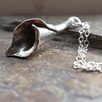 Sterling silver lily necklace, silver flower necklace