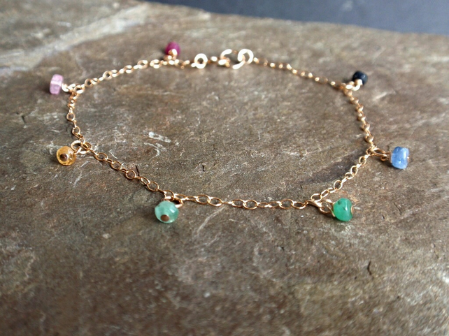 Ruby, emerald and sapphire bracelet with 14k gold filled chain