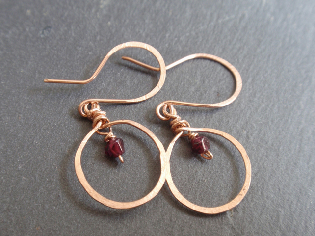 Rose gold garnet earrings, gold hoop earrings with dark red gemstone