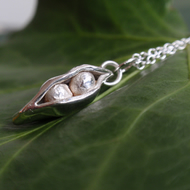 Sterling silver necklace with pea pod - gift for her