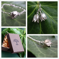 Sterling silver jewellery set with flower bud, lovely gardeners gift