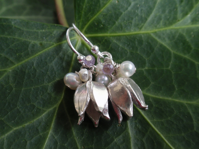 Sterling silver flower earrings with freshwater pearls and pink amethyst
