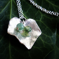 Sterling silver ivy necklace with green moss agate, silver leaf necklace