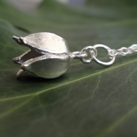 Sterling silver flower necklace, silver spring bell flower pendant