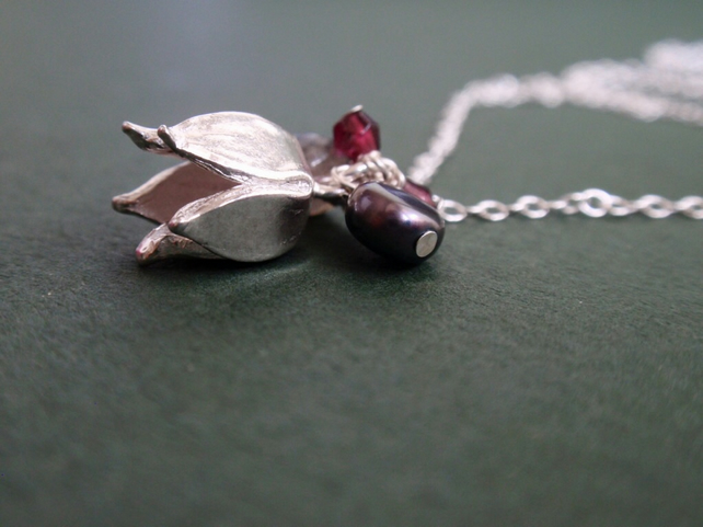 Sterling silver flower necklace with garnet and grey pearl - christmas gift