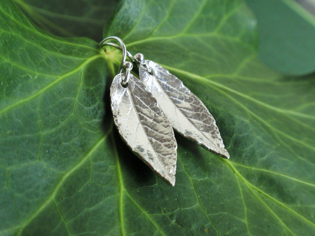 Sterling silver leaf earrings, christmas gift for her - silver garden earrings