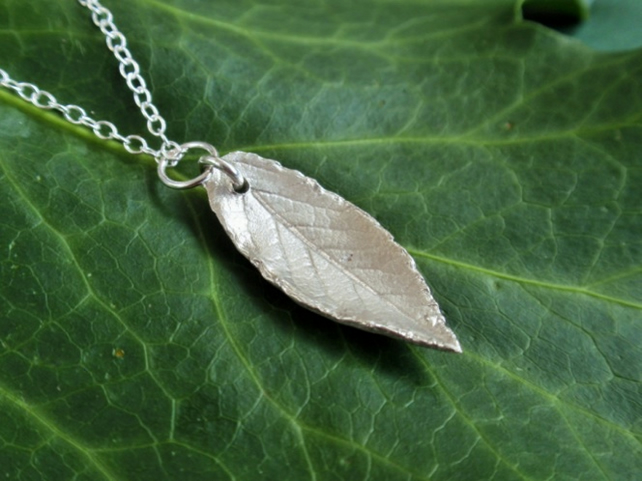 Sterling silver leaf necklace - autumn leaf pendant, christmas gift