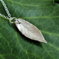Sterling silver leaf necklace - rose leaf pendant