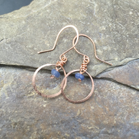Rose gold earrings with blue sapphire gemstones, or sterling silver