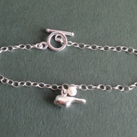 Sterling silver charm bracelet with bird, silver bird bracelet, silver bracelet