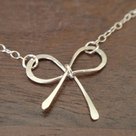 Delicate gold bow necklace, gold necklace