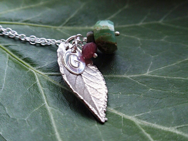 Sterling silver leaf necklace with green opal and tourmaline, spring necklace