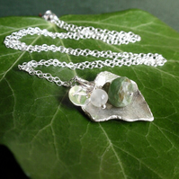 Sterling silver ivy leaf necklace with Peruvian opal and moonstone