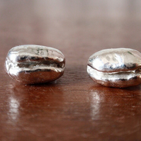 Sterling silver coffee bean earrings, silver stud earrings