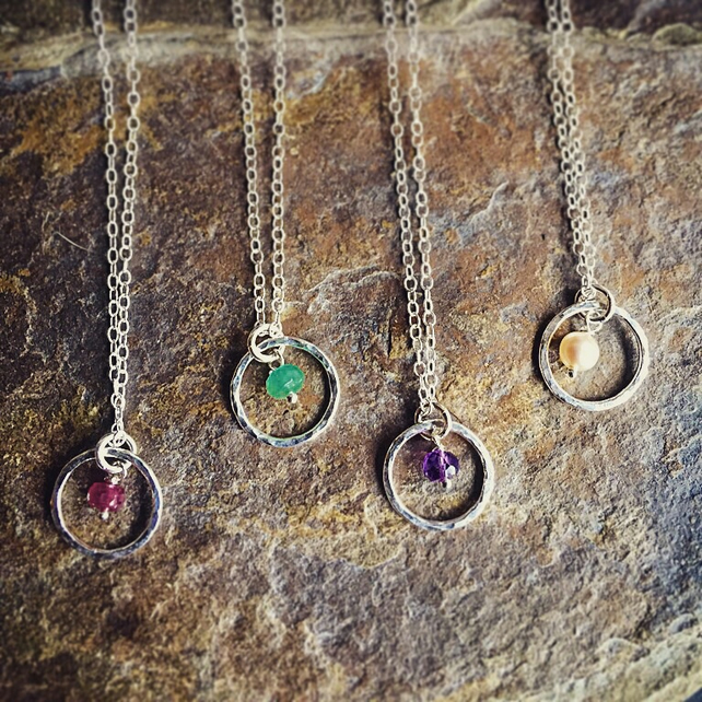 Sterling silver birthstone necklace with gemstone