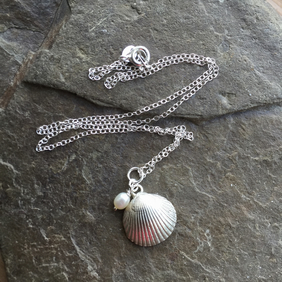 Sterling silver necklace - sterling silver shell necklace