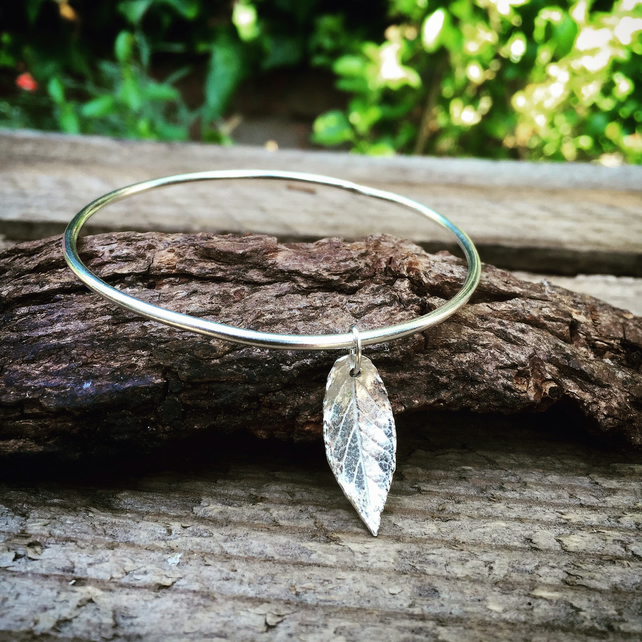 Sterling silver bangle with autumn leaf charm, stacking charm bangle
