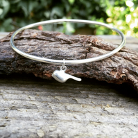 Bird Sterling silver bangle with charm, bird charm bracelet