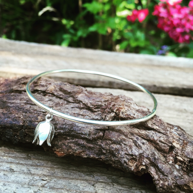 Sterling silver bangle and flower charm, sterling silver bracelet gift