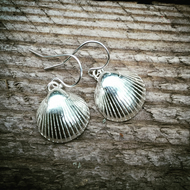 Sterling silver earrings - sterling silver shell earrings