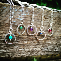 Sterling silver necklace - colourful birthstone necklace