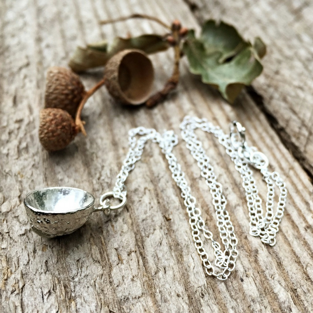 Sterling silver acorn necklace - gift for her