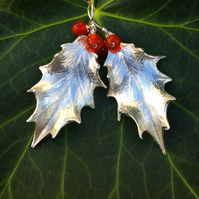 Sterling silver holly leaf earrings