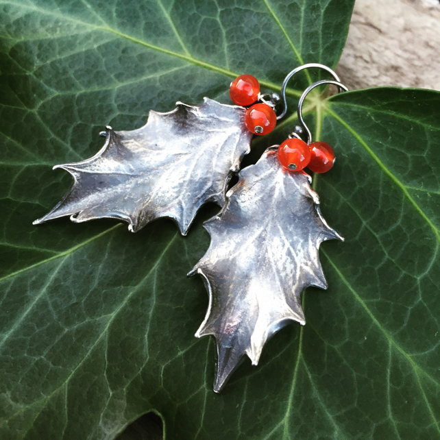 Sterling silver holly earrings - oxidised, beautiful gift for her