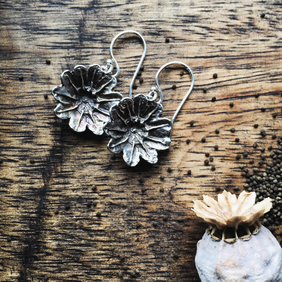 Sterling silver poppy seed head earrings, flower earrings