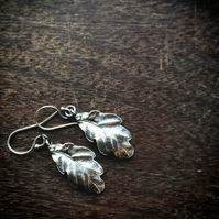 Sterling silver oak leaf earrings, Autumn leaf earrings