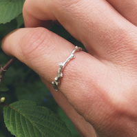 Sterling silver twig ring, sterling silver stacking ring