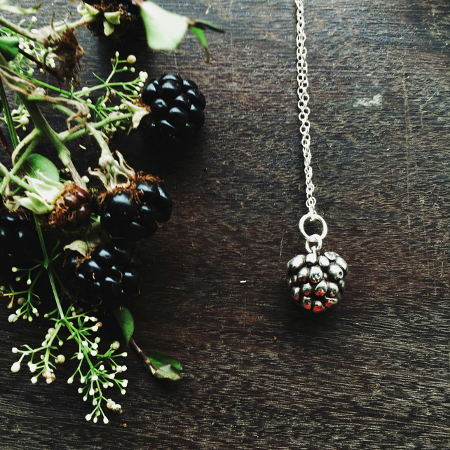 Sterling silver blackberry necklace, Autumn jewellery