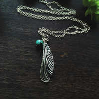 Sterling silver dragonfly wing necklaces with turquoise bead