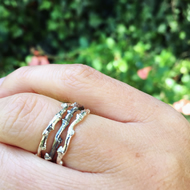Sterling silver twig stacking rings