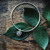 Sterling silver bangle with blackberry charm, Autumn bracelet, Christmas gift