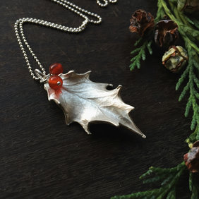 Sterling silver holly necklace - holly necklace with red carnelian beads