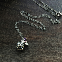 Long Sterling silver necklace with blackberry, garnet, amethyst and leaf