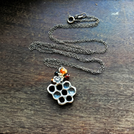 Sterling silver honeycomb cluster long necklace with amber, bee lover necklace