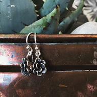 Sterling silver succulent earrings