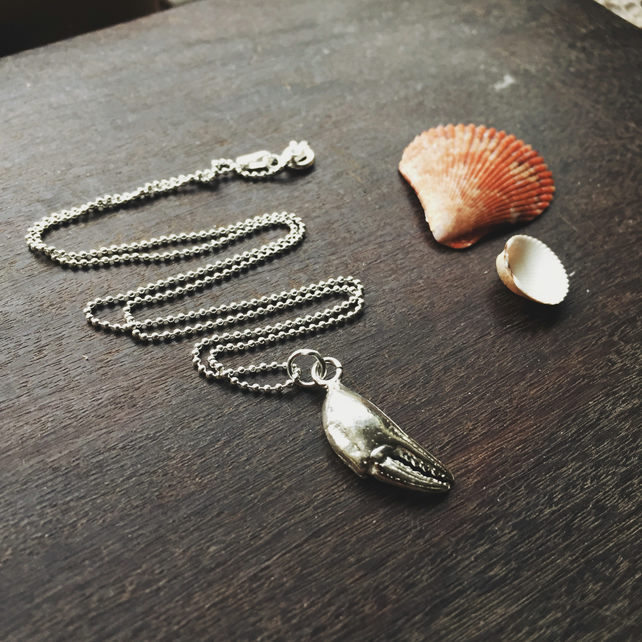 Sterling silver crab claw necklace, silver shell necklace, Cornish necklace