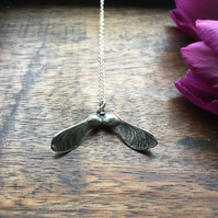 Sterling silver sycamore necklace, gift for her