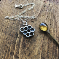 Sterling silver honeycomb necklace, honey bee necklace
