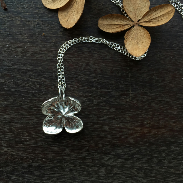 Sterling silver hydrangea necklace - silver flower necklace - Mother's Day gift